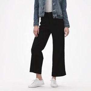 Dark Chambray Cropped Wide Leg Pants